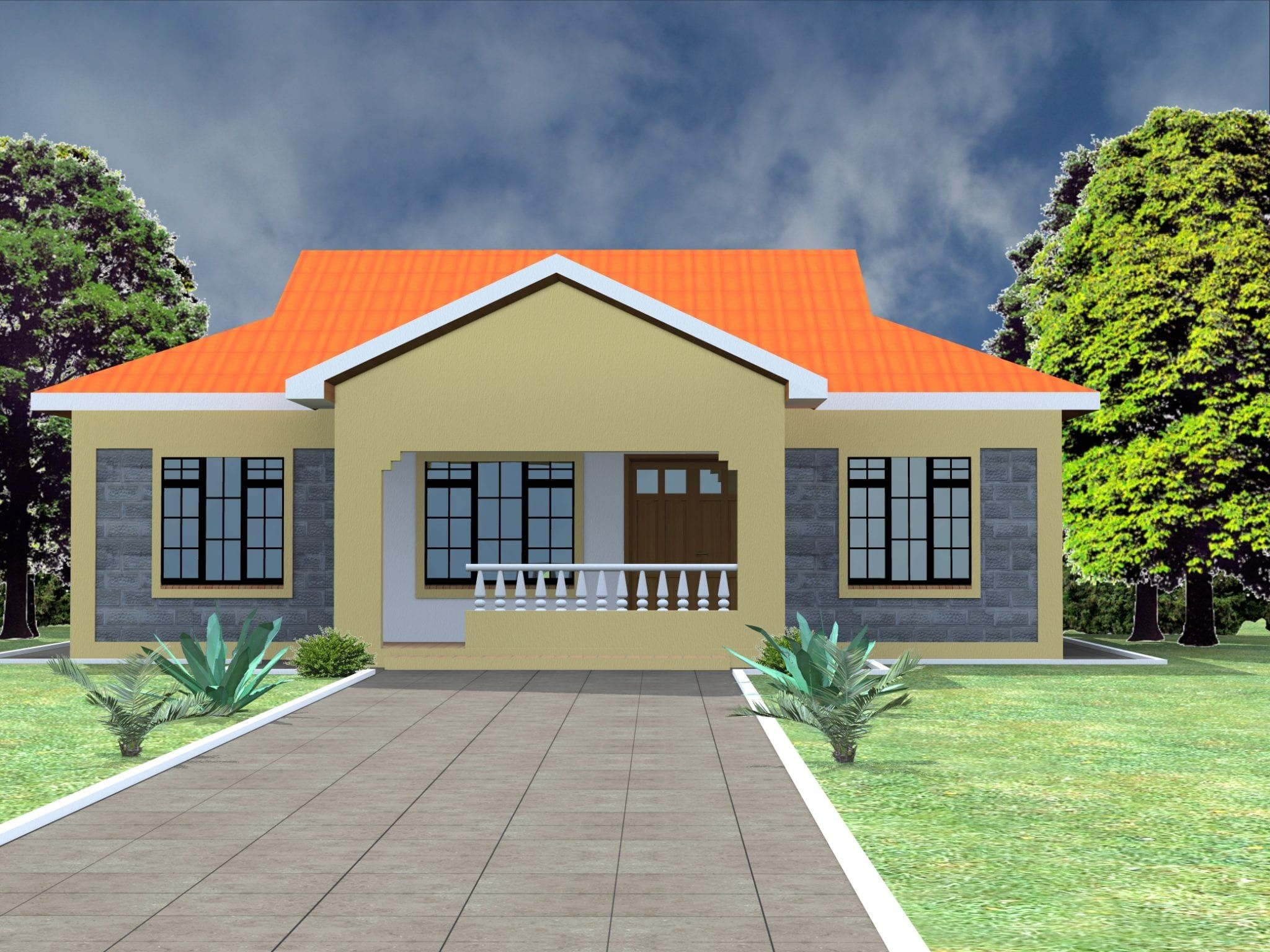 Low Budget Modern 3 Bedroom House Design Hpd Consult In 2021 Three Bedroom House Plan Simple House Design Modern Bungalow House