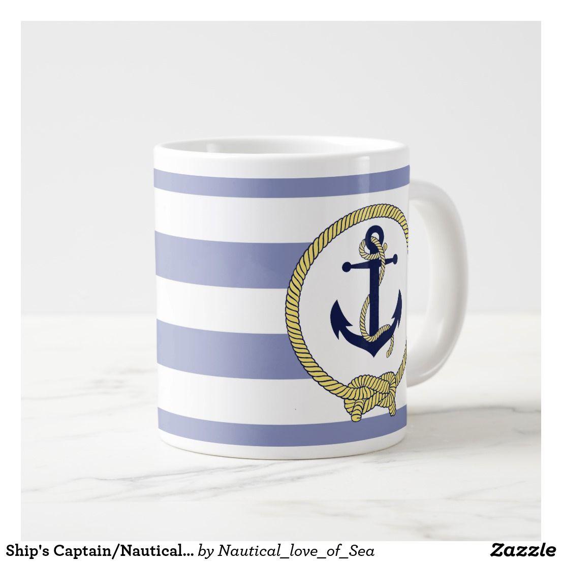 Ship S Captain Nautical Anchor Seaman S Knot Giant Coffee Mug Zazzle Com Extra Large Coffee Mugs Nautical Large Coffee Mugs