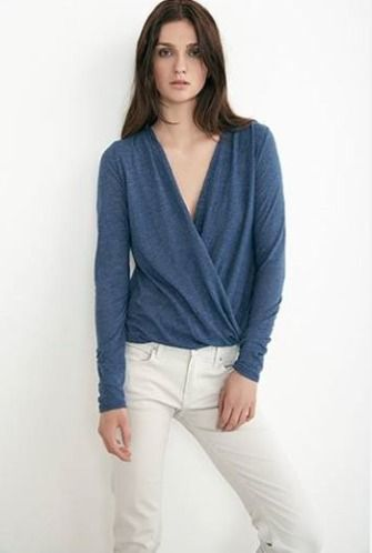 Heathered navy surplice top..... perfect for a night out!