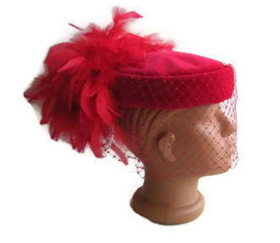b67238d7548 Red velvet tablet HAT Connor Regd feathers pill box hat 60 s hat birdcage  veil hat Red veiled hat Ka