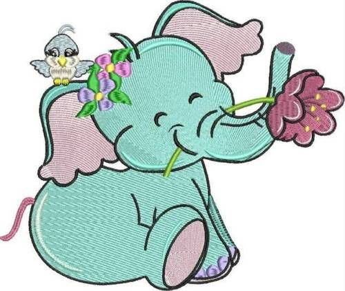 Adorable baby elephant machine embroidery designs