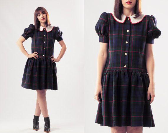 80s Plaid Dress / Peter Pan Collar Dress / Full by Mammaschest, $42.00