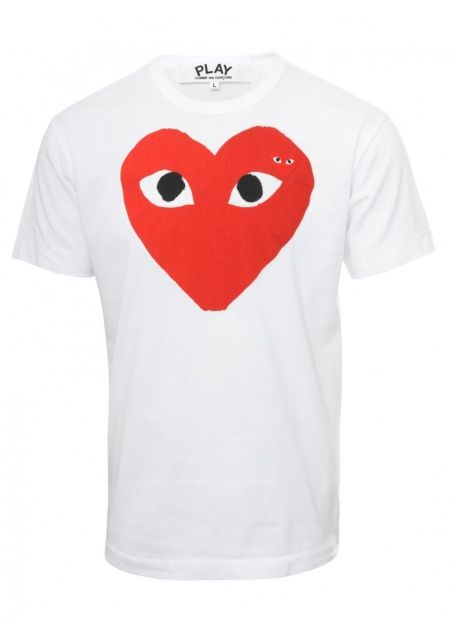 05f9e033757b08 AZ-T026-051 Mens PLAY S S White Print T-Shirt Red emblem in 2019 ...
