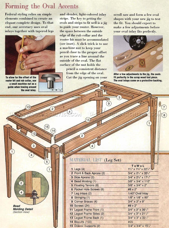 Federal Secretary Desk Plans Furniture Plans Desk Plans Secretary Desks Woodworking Plans