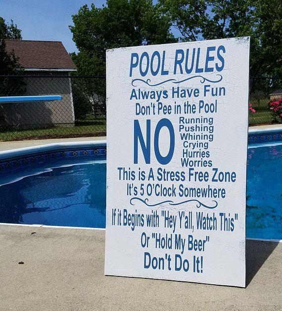 20 X 15 Wood Vintage Pool Rules Sign No Vinyl Pool Rules Sign Pool Rules Pool Signs Funny