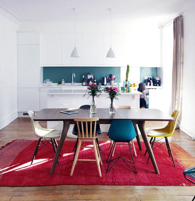 Épinglé Par Céline Afchain Sur Decor Ideas Pinterest Chaises - Table et chaises depareillees pour idees de deco de cuisine