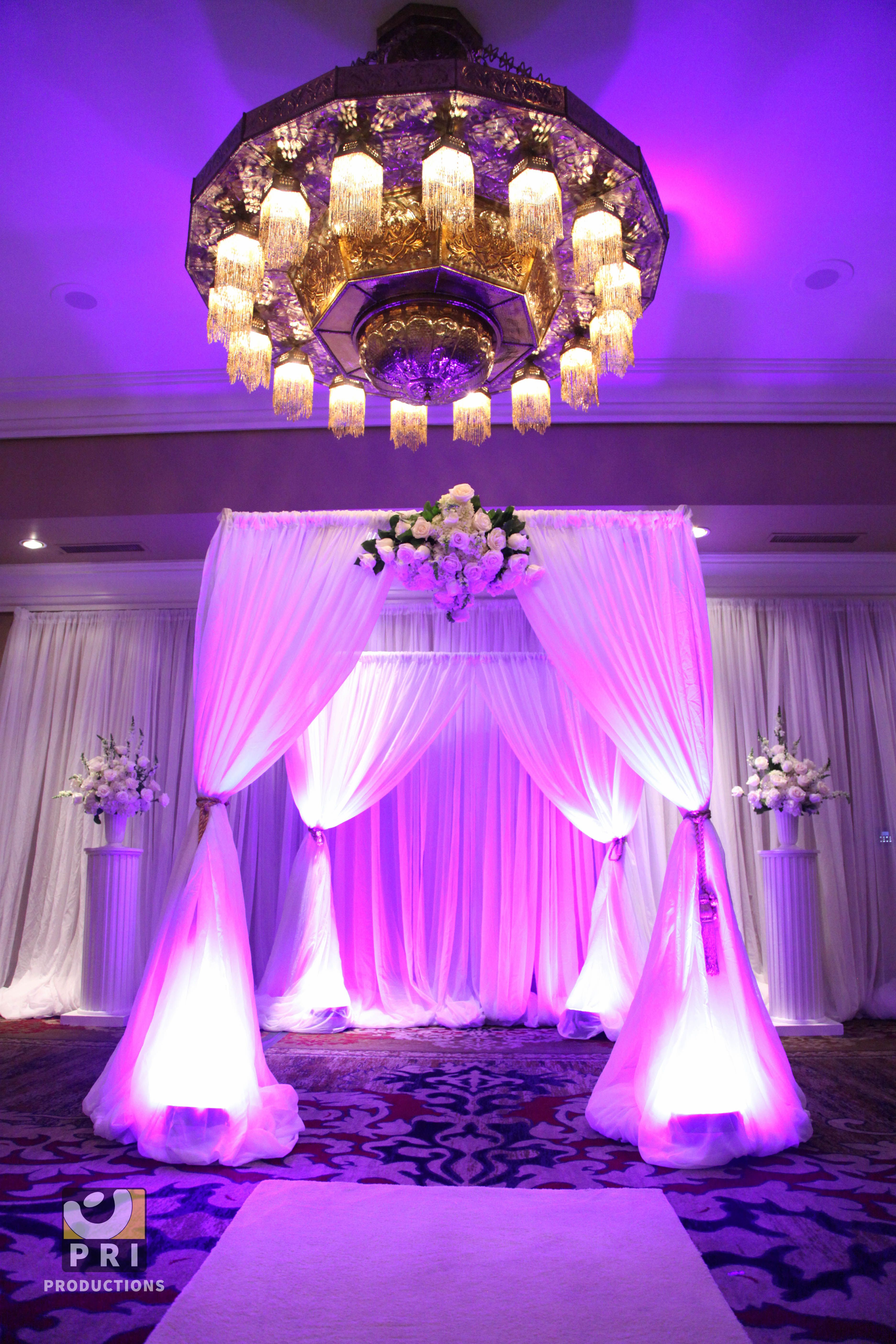 Wedding alter lit with led lights head table backdrop pinterest