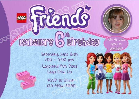 PRINTABLE Lego Friends Birthday Party Invitation Customized With Your Details And Personal Photo DIY Printable Digital File Emailed To You