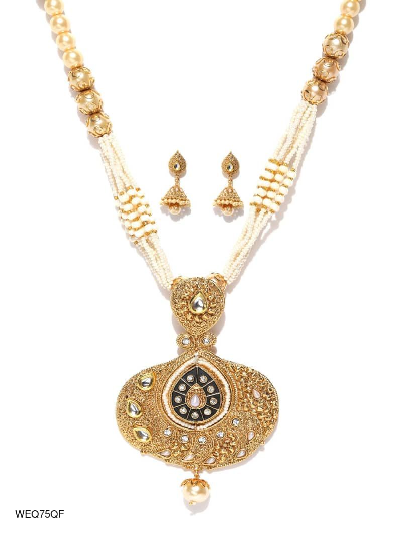 Goldtoned pendant neckpiece and earrings set new products added in