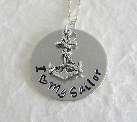 Hand Stamped I Heart My Sailor Necklace / Hand by kimgilbert3, $16.00