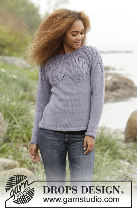 e1b615a95040 Knitted DROPS jumper with lace pattern on yoke worked top down in Karisma.  Size  S - XXXL. Free pattern by DROPS Design.