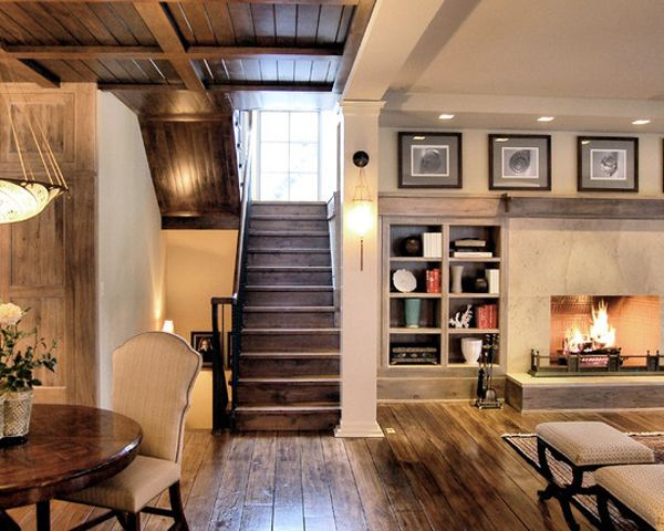 Basements Remodeling inspiring-basement-ideas. wood floors & ceilings with a stone