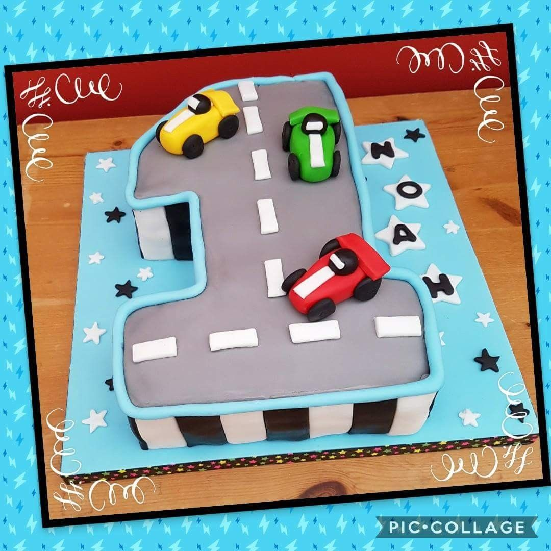 Number 1 First Birthday Cake With Car Cake Toppers With Images