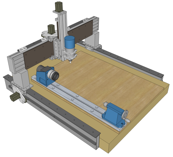 Cnc 3 axis router with a axis lathe cnc stuff for Diy router