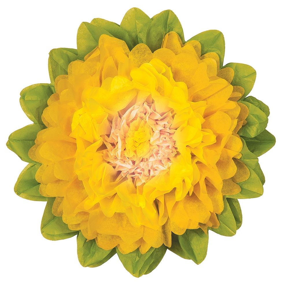 Tissue Paper Flower Yellow Marigold 10 Inch Flowers