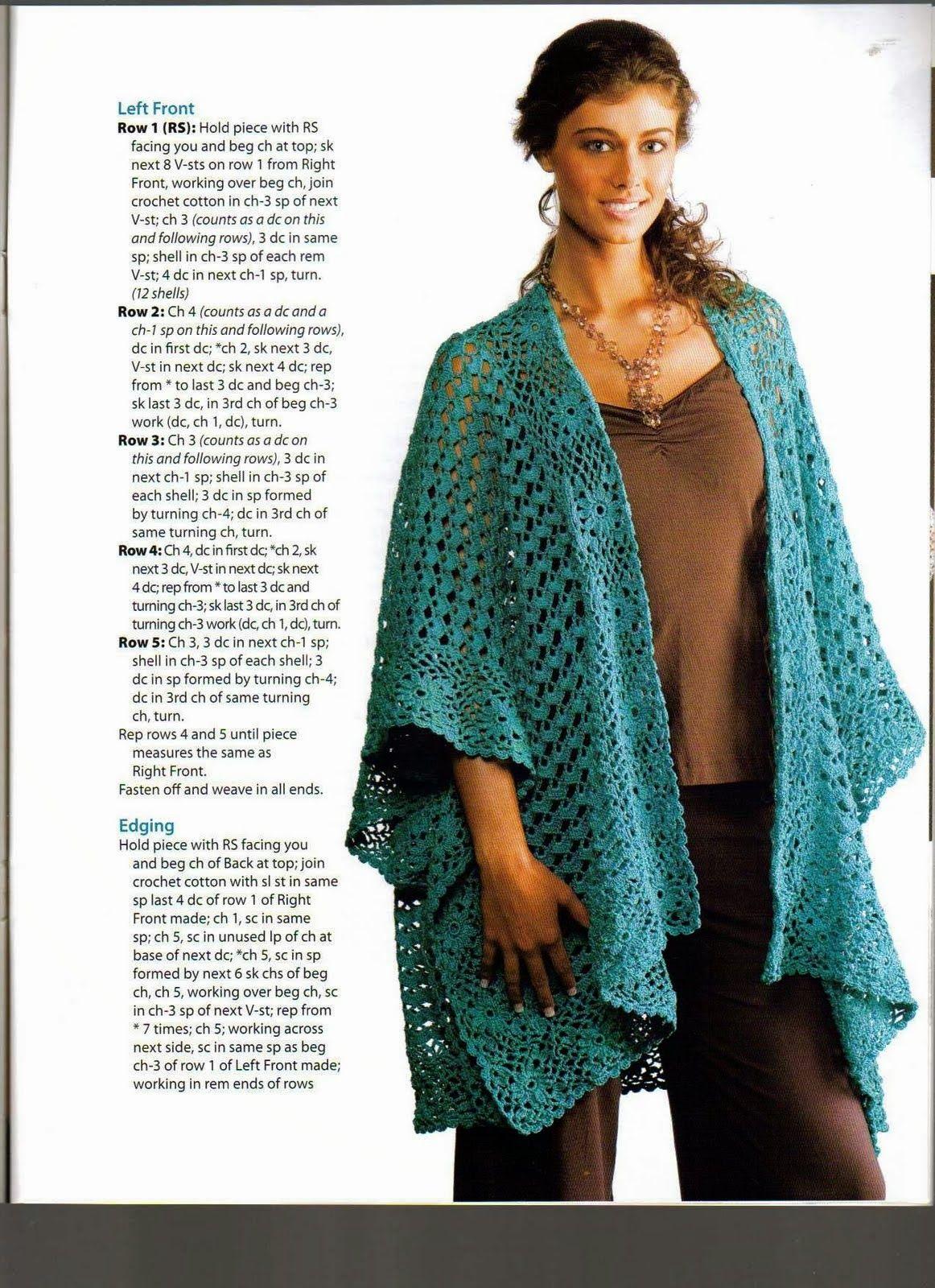 Chal Poncho Abierto Capa - Patrones Crochet | MODA A GANCHILLO ...
