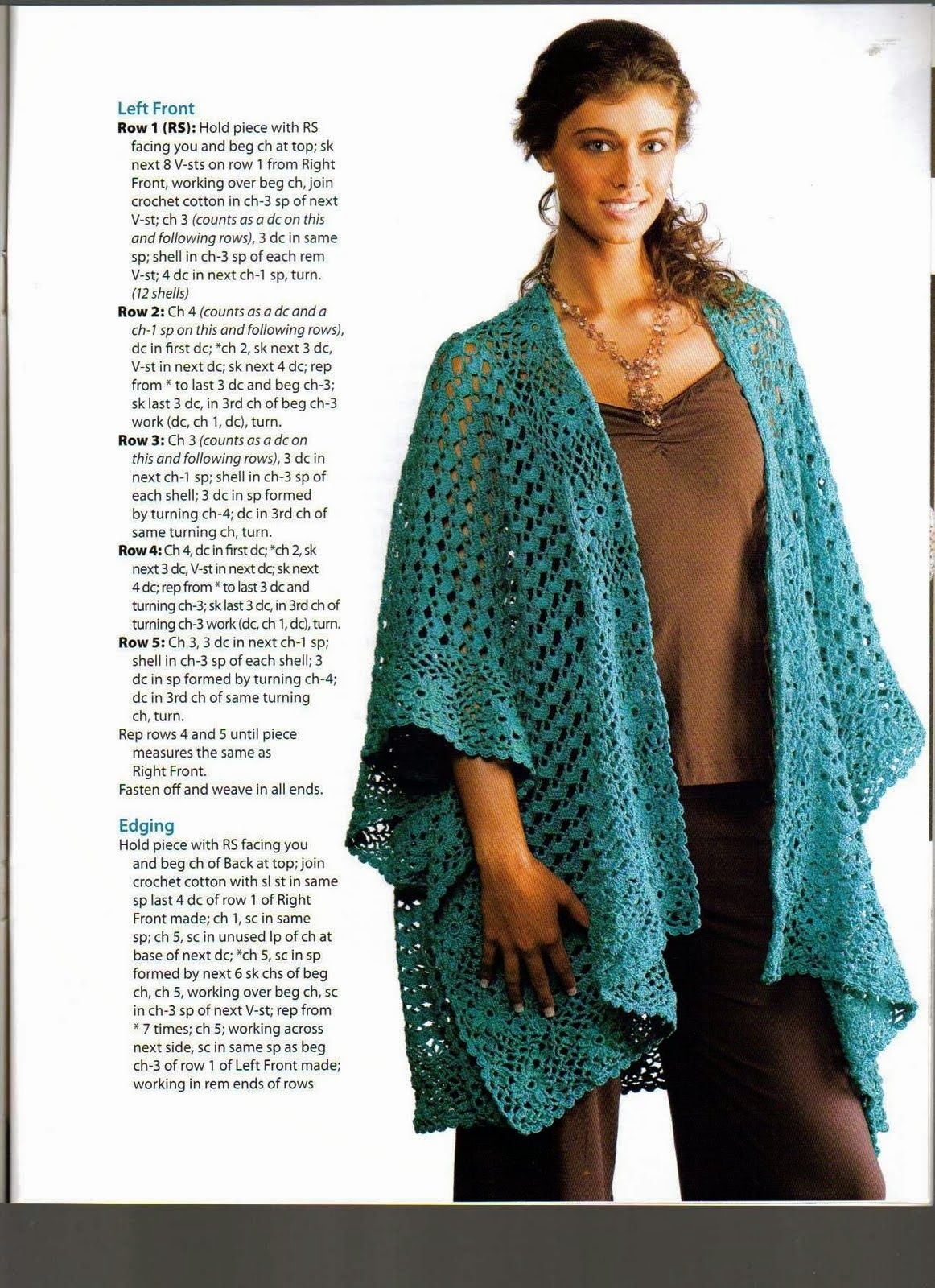 Chal Poncho Abierto Capa - Patrones Crochet long sweater motif ...