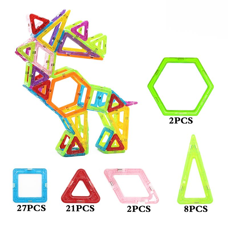10pcs Magnetic Building Toys Construction Blocks Triangle Bricks Figure Toy