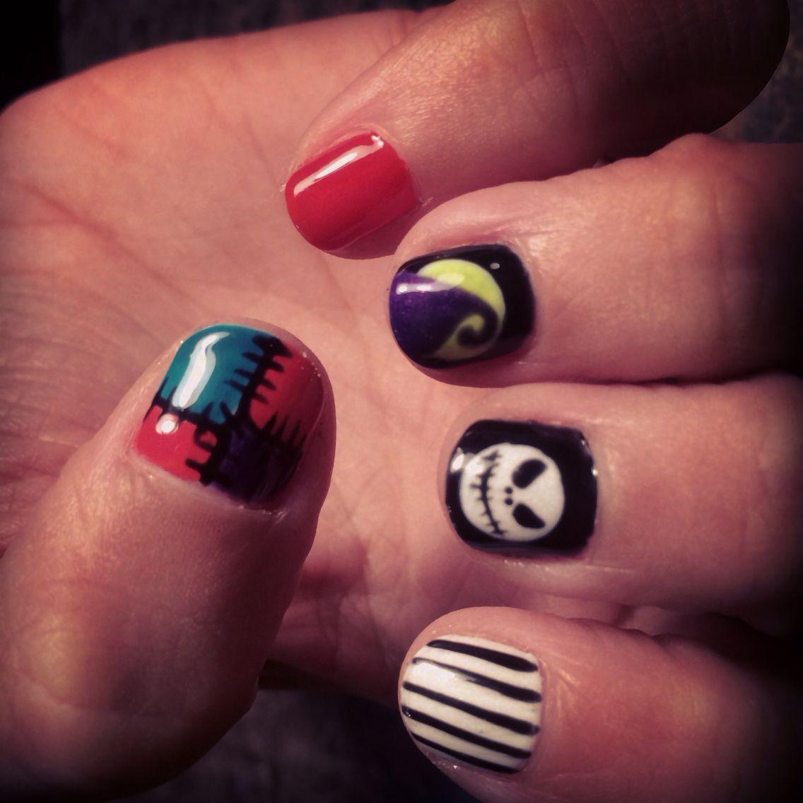 Nightmare before Christmas nail art. Gel polish #nailsbytanya ...