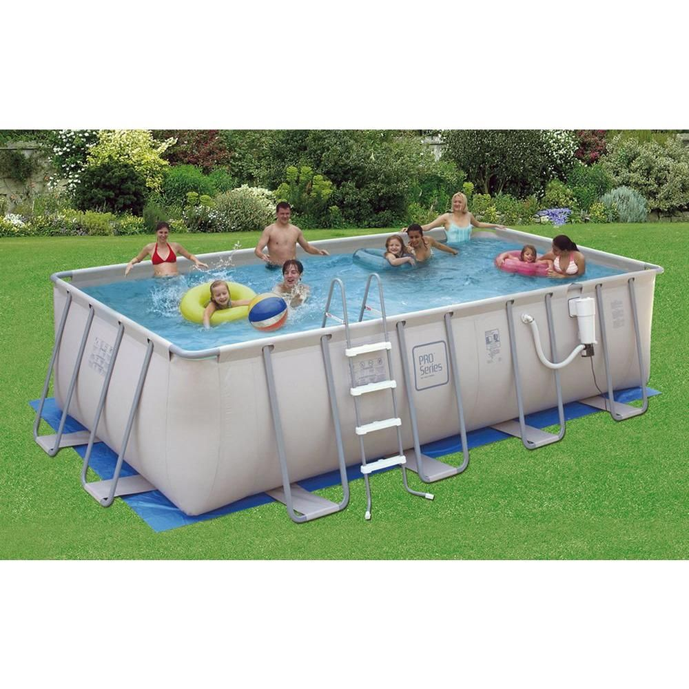 Summer Waves Elite Proseries 9 Ft X 18 Ft Rectangular 52 In Deep Metal Frame Above Ground Pool Nb2046 The Home Depot Swimming Pools Above Ground Swimming Pools Rectangular Swimming Pools