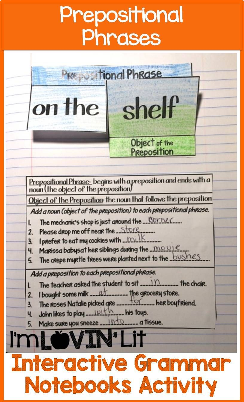Prepositional Phrases Interactive Notebook Activity [ 1344 x 816 Pixel ]