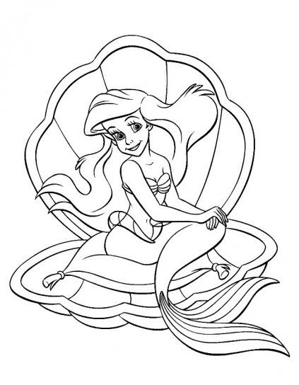 Principesse Disney Da Colorare Sirenetta Conchiglia Coloring Pages