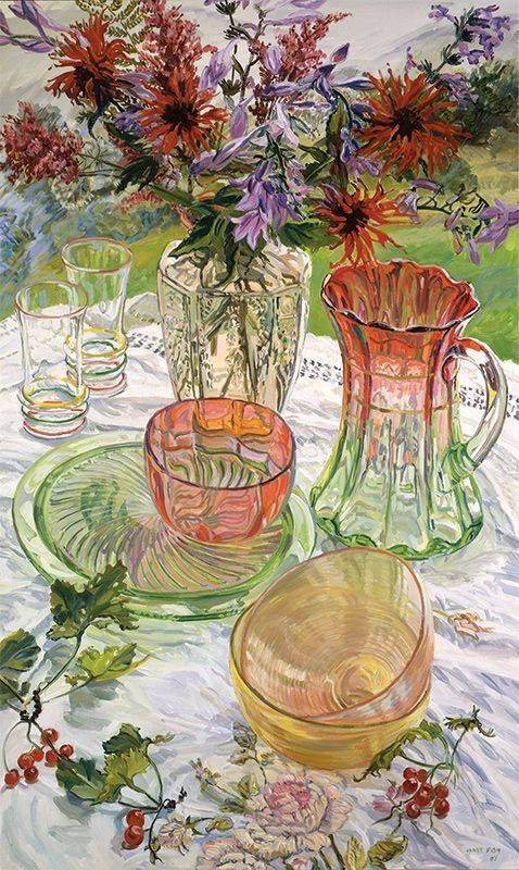 Janet Fish, Red and Green Dishes Monarda, 2007, oil on canvas, 60X36. (An oil painting? That's amazing.)
