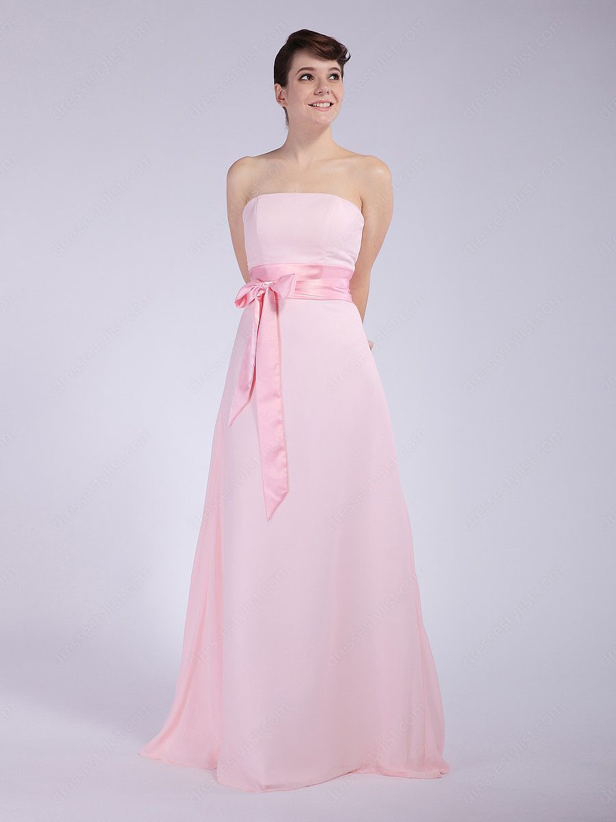 Find affordable A-line Strapless Chiffon Floor-length Pink Sash ...