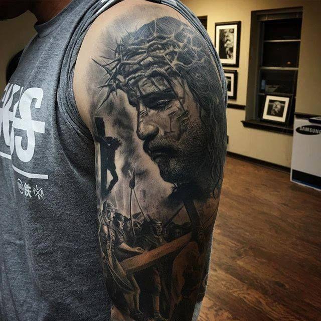 Jesus Right Arm Sleeve Tattoo Google Zoeken Tattoo Sleeve Designs Sleeve Tattoos Jesus Tattoo