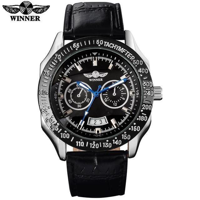 WINNER fashion brand men sport mechanical watches leather strap