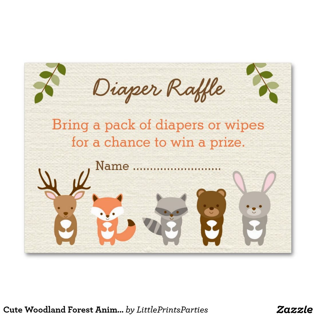 Cute Woodland Forest Animal Diaper Raffle Tickets Large Business ...