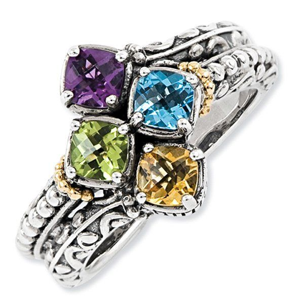 Sterling Silver Amp 14k Four Stone Antiqued Mother S Ring