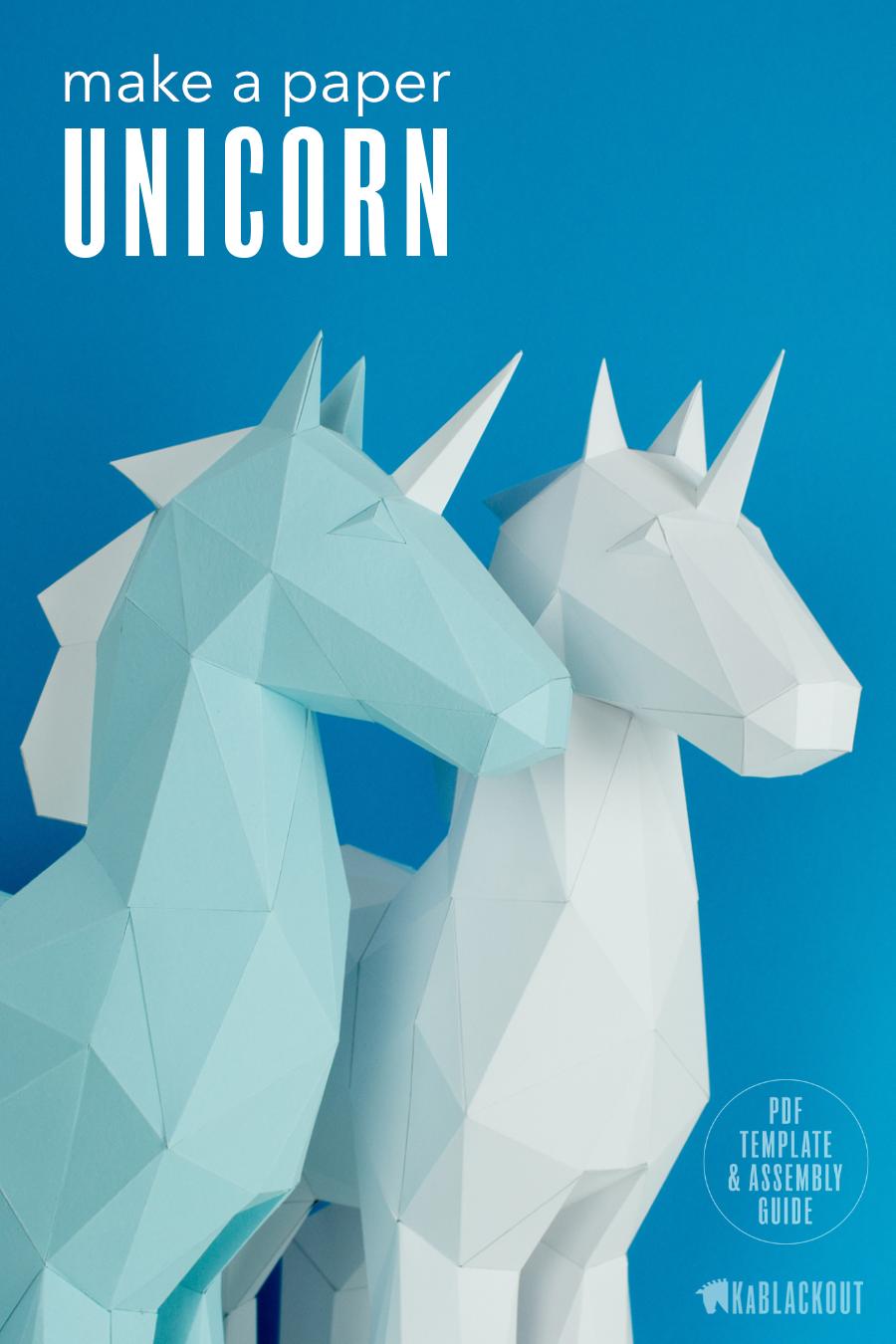 Papercraft Unicorn Template, DIY Unicorn Papercraft, Low Poly ...