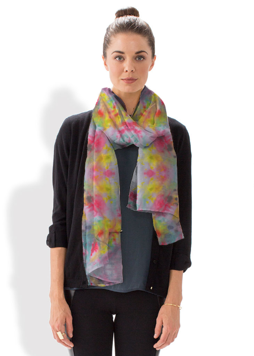 Add a pop of color to any outfit with this bold scarf designed by Sara Khan. #shopvida #vidavoices