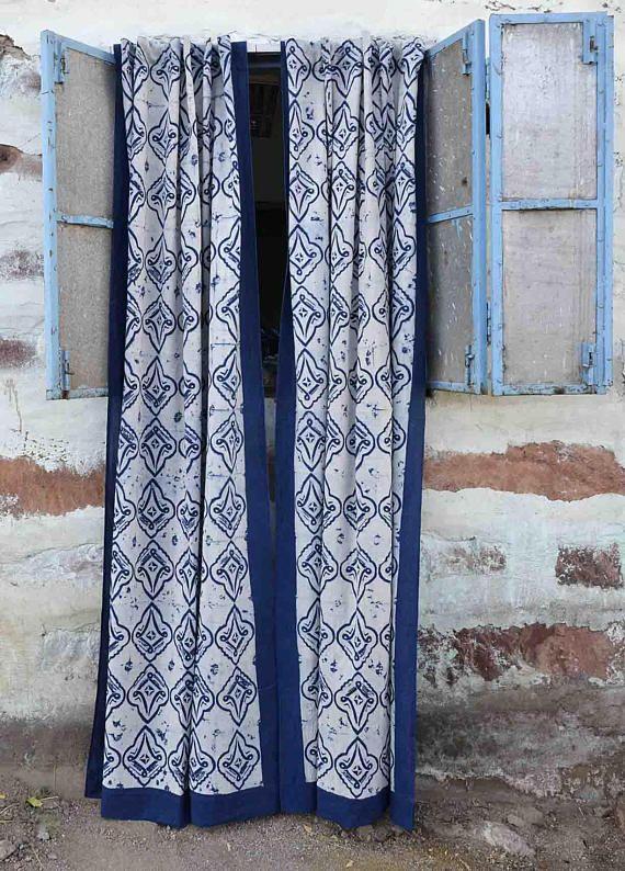 Blue white curtain panels indigo window treatments boho bedroom home decor block print home living i is part of bedroom Window Boho - my ichchaInstagram@myichcha