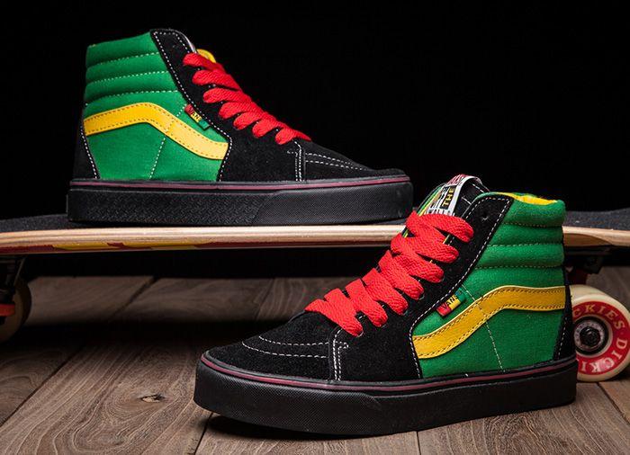 d95bb87219 Vans SK8-Hi Flag Red Yellow Green Black Skate Shoes  Vans ...