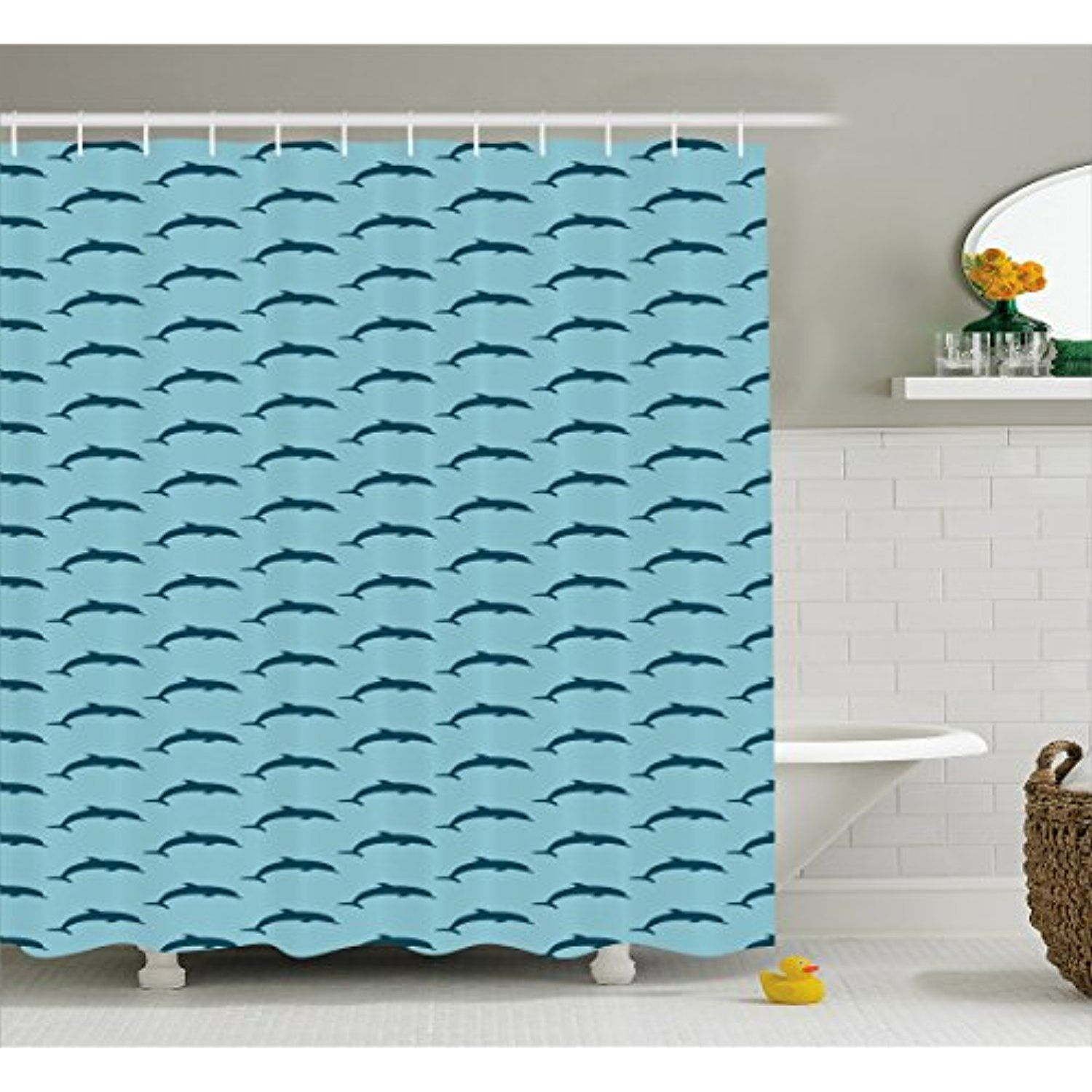 Dolphin Shower Curtain By Ambesonne Ocean Fauna Collection Silhouette With Blue Color Scheme Abstract Fabric Bathroom Decor Set Hooks