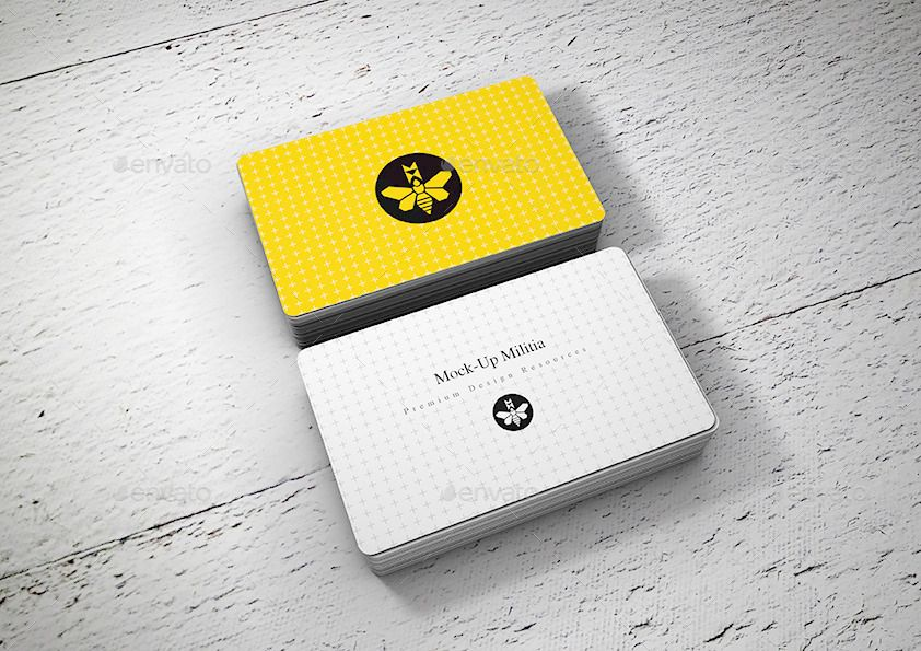 Rounded Corners Business Card Mock Up