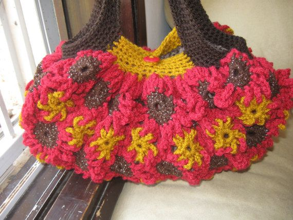 Crochet Flower Purse Red and Gold