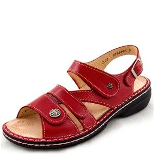 Finn Comfort Gomera Red Leather Soft Footbed Finn Comfort Leather Red Leather
