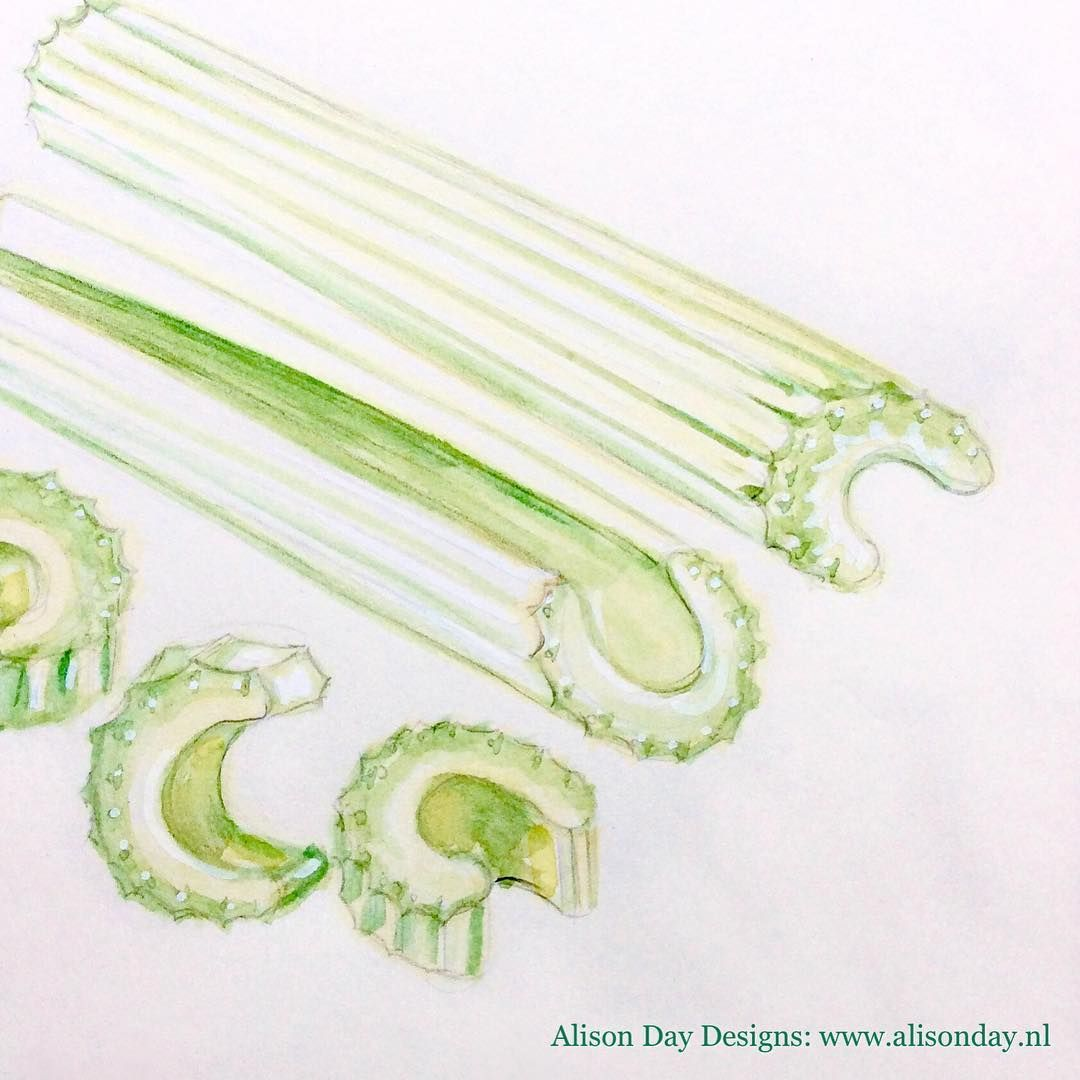 Day 26/100 - #Celery by Alison Day #100dayproject #100dayfoodanddrink #foodillustration #illustratingfood