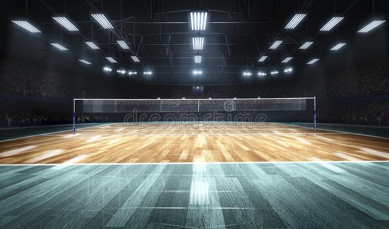 Empty Professional Volleyball Court In Lights 3d Rendering Aff Volleyball Professional Empty R Professional Volleyball Volleyball Indoor Volleyball