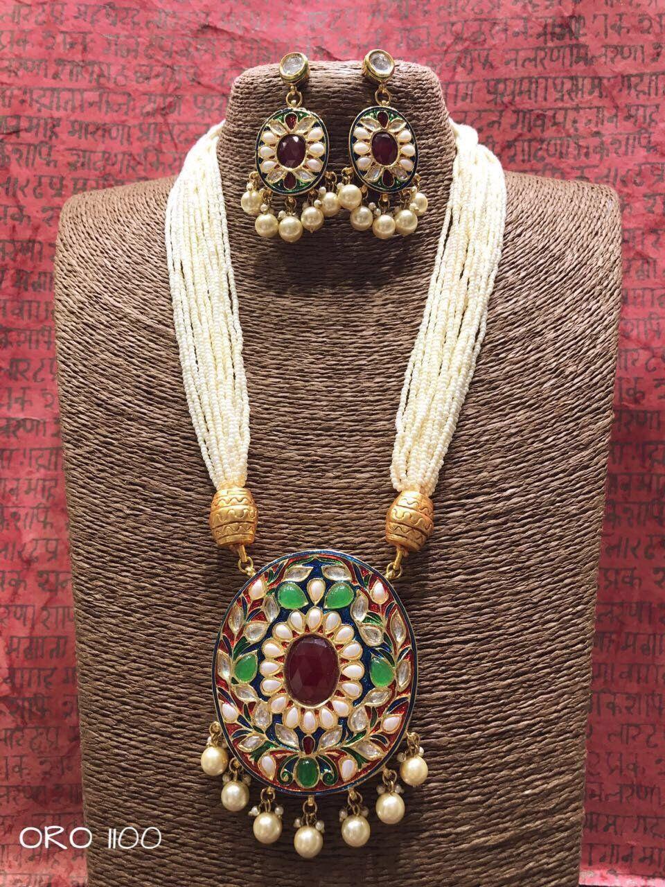 Rajasthani kundan necklace set jewelry pinterest jewelry