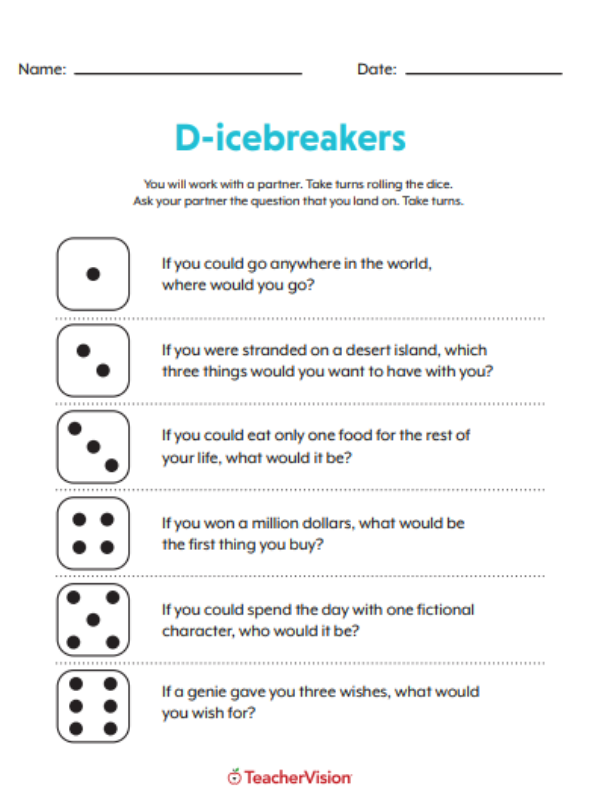 Rolling A Dice Icebreaker Activity | Back-to-School