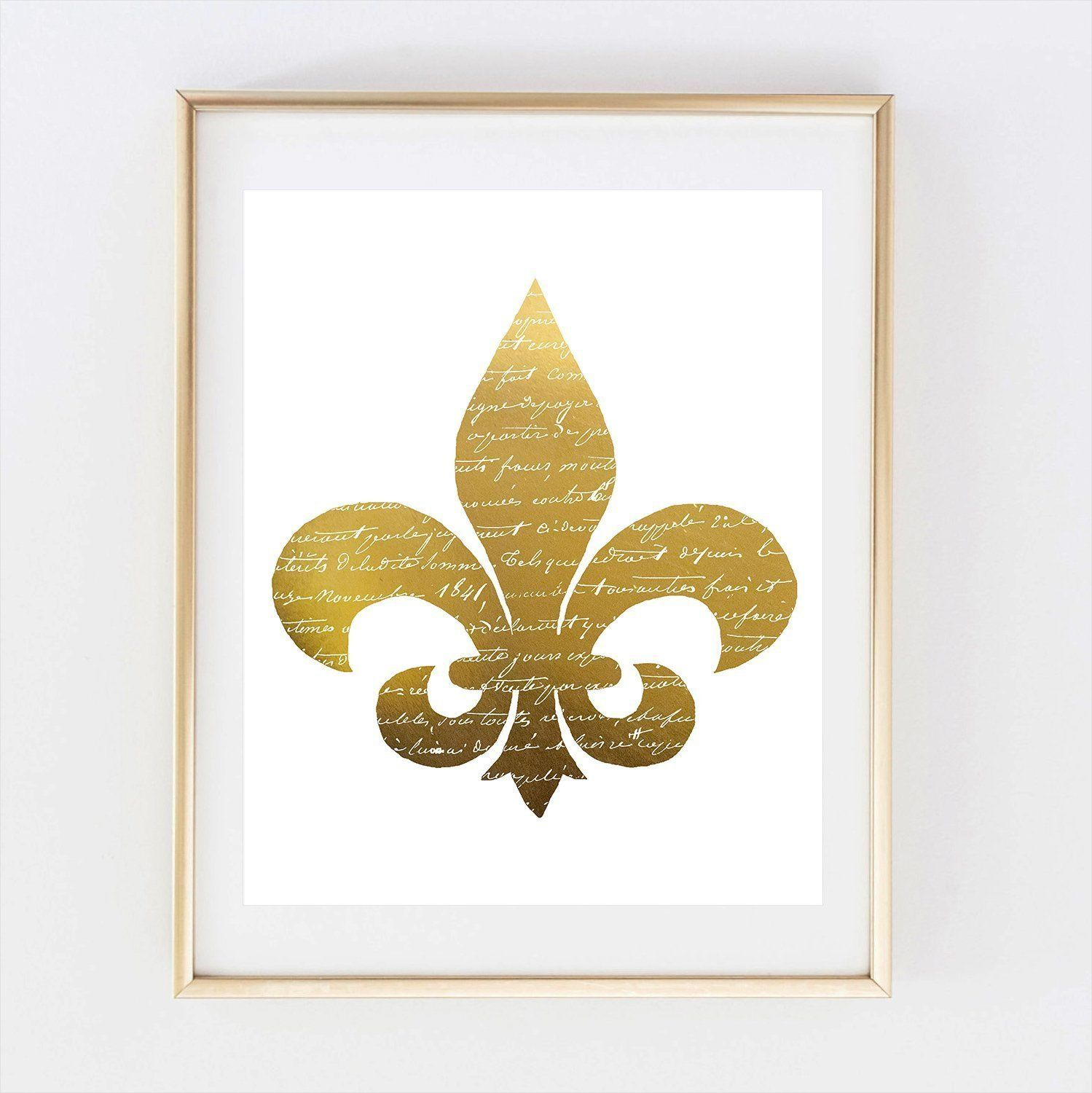 Amazon.com: Fleur de Lis Vintage France Old Gold Foil Leaf Wall Art ...