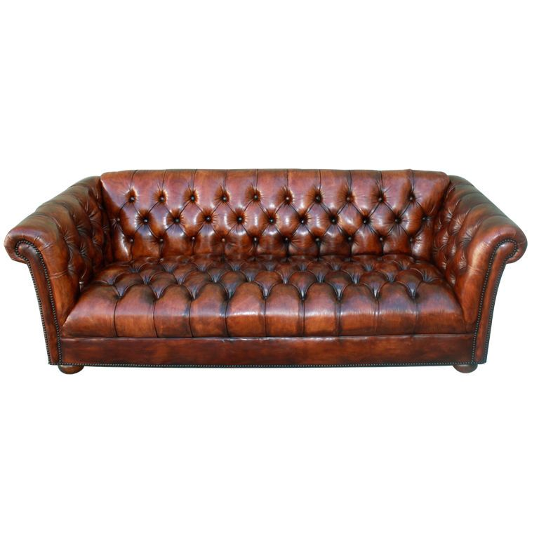 Fine Luxury Handmade Cigar Faux Leather Chesterfield Style 2 Seater Sofa Cognac Reproduction Sofas/chaises Antiques