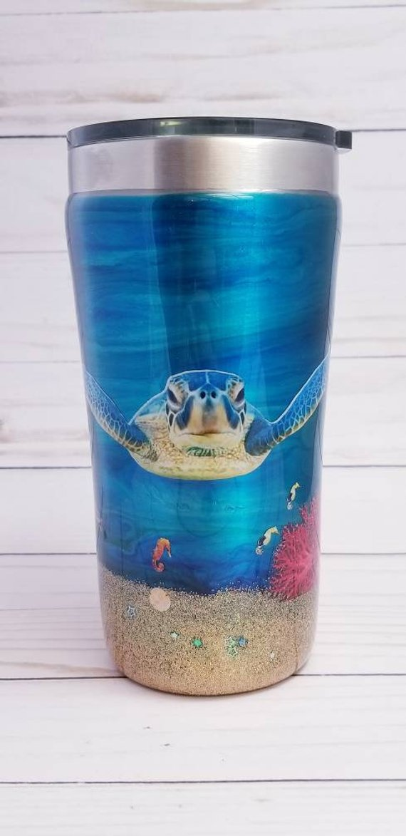 8bc81c9d344 Turtle Tumbler - Ocean Tumbler - Custom Tumbler - Seahorse - Alcohol Ink  Art - Sea Turtle Tumbler - Mermaid Gift - 20 ounce Tumbler