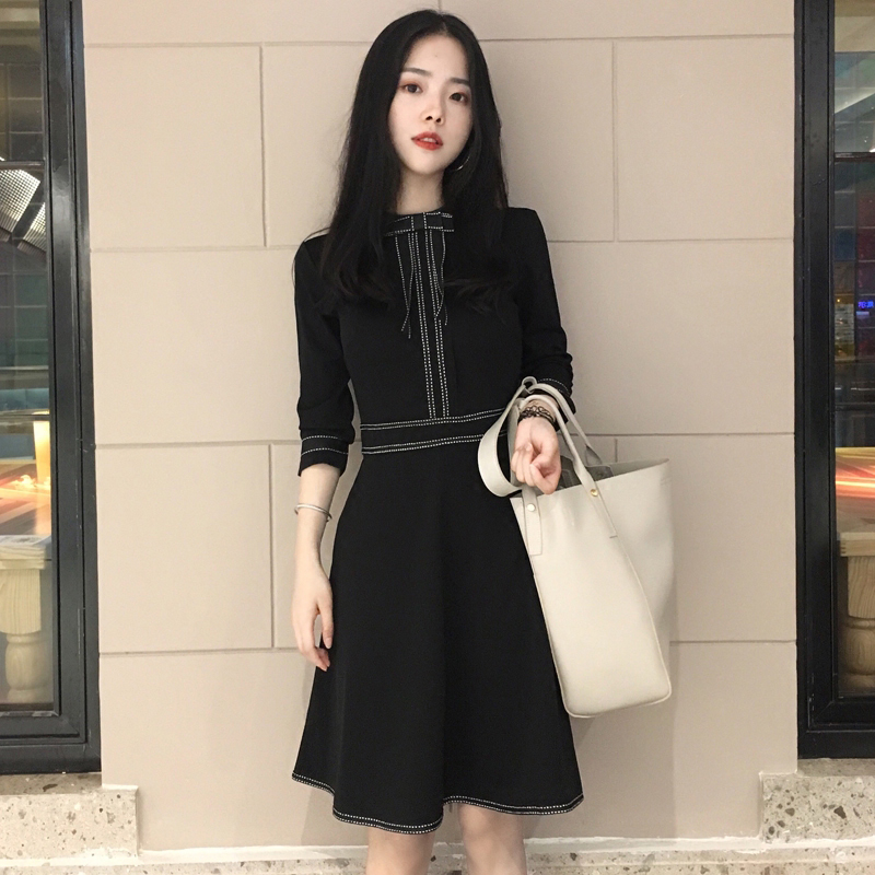 Black Dress Korean Dress Style Party Weight Lifting