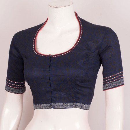 Hand Block Printed Silk Cotton Blouse With Embroidered Collar Neck & Sleeve 10030510 - AVISHYA.COM #blousedesigns