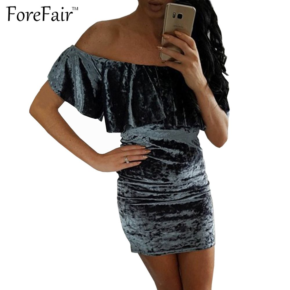 Click to buy ucuc forefair trend velvet dress sexy off shoulder